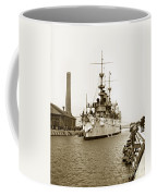 Navy Cruiser Uss New York Going Into Dry Dock San Francisco Circa 1903 Coffee Mug