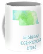 Nebraska - Cornhusker State - Map - State Phrase - Geology Coffee Mug