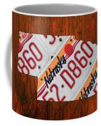 Nebraska License Plate Map Art Coffee Mug