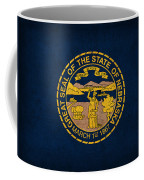 Nebraska State Flag Art On Worn Canvas Coffee Mug