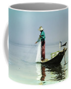 Net Fishing On Inle Lake Coffee Mug