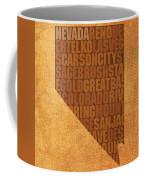 Nevada Word Art State Map On Canvas Coffee Mug
