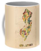 New Jersey Map Vintage Watercolor Coffee Mug
