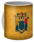 New Jersey State Flag Art On Worn Canvas Coffee Mug