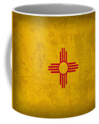New Mexico State Flag Art On Worn Canvas Coffee Mug