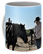 Watercolour Style Cowboy Jim Leading A Horse With Water Coffee Mug