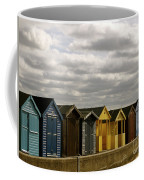 Colourful Wooden English Seaside Beach Huts Coffee Mug