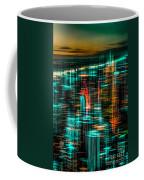 New York - The Night Awakes - Green Coffee Mug by Hannes Cmarits