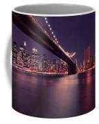 New York Brooklyn Bridge At Night Coffee Mug