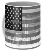 New York City On American Flag Black And White Coffee Mug