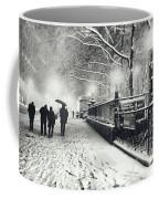 New York City - Winter - Snow At Night Coffee Mug