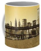 New York Downtown Manhattan Skyline - Yellow Panorama Coffee Mug