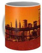 New York Downtown Manhattan Skyline Red Coffee Mug