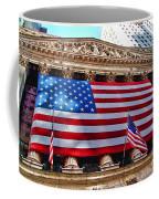 New York Stock Exchange With Us Flag Coffee Mug
