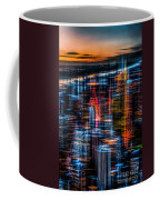 New York- The Night Awakes - Orange Coffee Mug by Hannes Cmarits