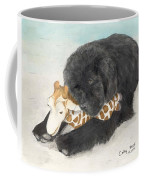 Newfoundland Dog In Snow Stuffed Animal Cathy Peek Art Coffee Mug