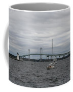 Newport Bridge With Newport Harbor Light Coffee Mug