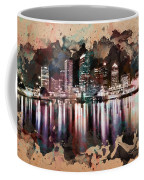 Night City Reflections Watercolor Painting Coffee Mug