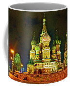 Night View Of Saint Basil Cathedral In Red Square In Moscow-russia Coffee Mug