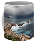 Wild Rocks At North Coast Of Minorca In Middle Of A Wild Sea With Stormy Clouds Coffee Mug