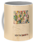 North Dakota Map Vintage Watercolor Coffee Mug