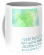 North Dakota - Peace Garden State - Flickertail State -  Roughrider - Map - State Phrase - Geology Coffee Mug
