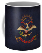 North Dakota State Flag Art On Worn Canvas Coffee Mug by Design Turnpike