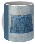 North Dakota Word Art State Map On Canvas Coffee Mug
