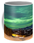 Northern Lights Aurora Borealis Over Rural Winter Coffee Mug