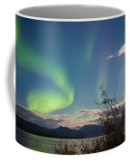 Northern Lights Full Moon Over Lake Laberge Yukon Coffee Mug