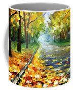 November Alley - Palette Knife Landscape Autumn Alley Oil Painting On Canvas By Leonid Afremov - Siz Coffee Mug