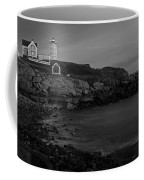 Nubble Light At Sunset Bw Coffee Mug by Susan Candelario