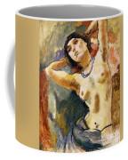 Nude Brunette With Blue Necklace Nu La Brune Au Collier Bleu Coffee Mug