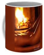 Nude Shiny Woman Body In Front Of Fireplace Coffee Mug