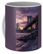 Nyc- Manhatten Bridge At Night Coffee Mug by Hannes Cmarits