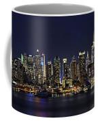 Nyc Skyline Full Moon Panorama Coffee Mug by Susan Candelario