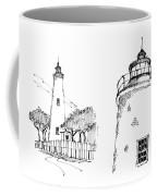 Ocaracoke Lighthouse Detail Sketches 1992 Coffee Mug by Richard Wambach