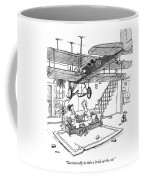 Occasionally He Lobs A Brick At The Cat Coffee Mug