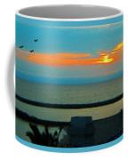 Ocean Sunset With Birds Coffee Mug