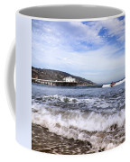 Ocean Waves Blue Sky And A Surfer At Malibu Beach Pier Coffee Mug