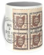 Ohio Three Cent Stamp Plate Block Coffee Mug