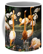 Oil Painting - A Number Of Flamingos With Their Heads Held High Inside The Jurong Bird Park Coffee Mug