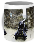 Oil Painting - Cannons And Cannon Balls At Walls Of Stirling Castle Coffee Mug