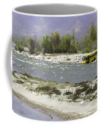 Oil Painting - Front Part Of School Bus In A Mountain Stream On The Outskirts Of Srinagar Coffee Mug