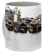 Oil Painting - Multiple Families Relaxing In Multiple Shikaras In The Dal Lake Coffee Mug