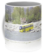 Oil Painting - School Bus In A Mountain Stream On The Outskirts Of Srinagar Coffee Mug