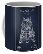 Oil Well Rig Patent From 1893 - Navy Blue Coffee Mug