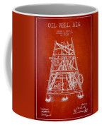 Oil Well Rig Patent From 1893 - Red Coffee Mug