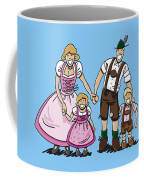 Oktoberfest Family Dirndl And Lederhosen Coffee Mug by Frank Ramspott
