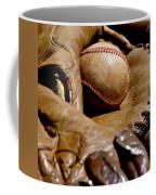Old Baseball Ball And Gloves Coffee Mug